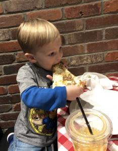 Noah Eating Grimaldi's